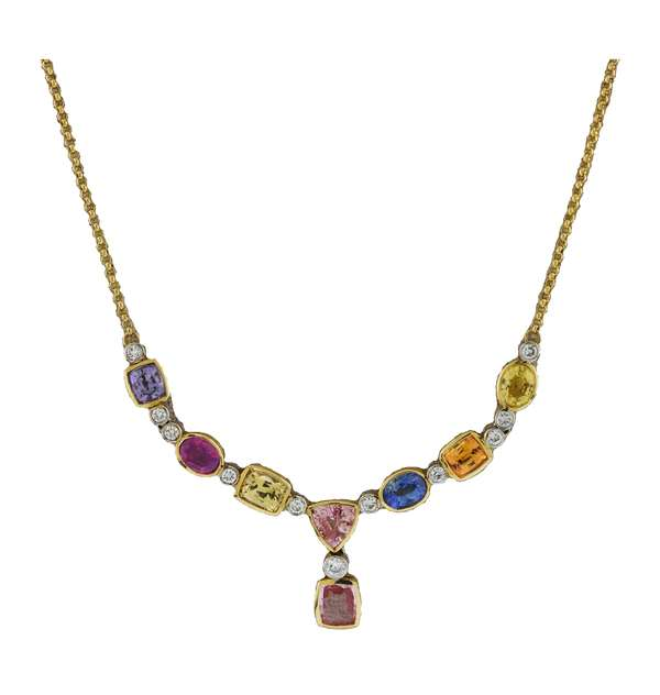 Stamped 14k yellow gold multi-color sapphire necklace set with approximately 9.1 ct total weight sapphires and approx. .75 ct total weight of round brilliant cut diamonds with 20