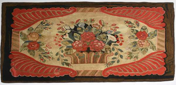 19th C. pictorial hooked rug, basket of flowers with red border, 36.5