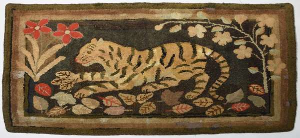 19th C. pictorial hooked rug, tiger in jungle, 34