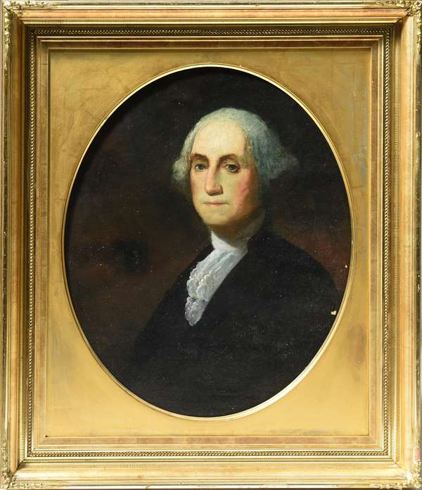 19th C. oil on canvas portrait of George Washington, unsigned, 30