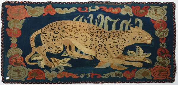 19th C. pictorial hooked rug, leopard, with vibrant blue background, 44