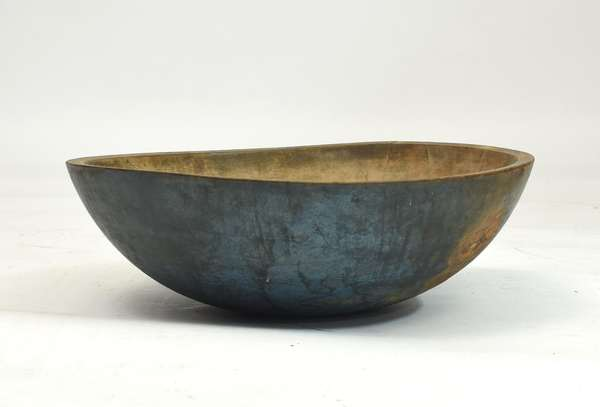 Large round chopping bowl in old blue paint