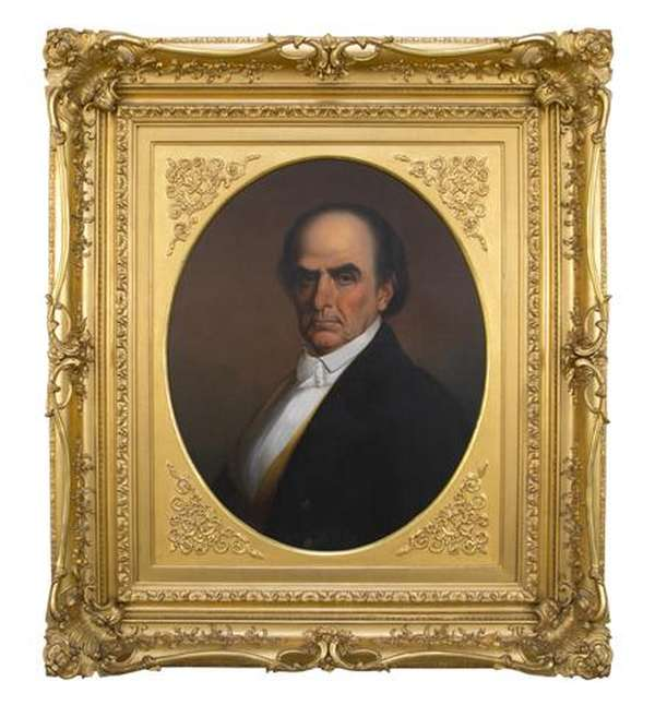 19th C. oil on canvas, Portrait of Daniel Webster, signed and dated lower left W. Morrison 1854, 25