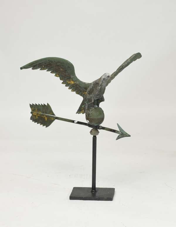 Eagle and arrow weathervane with original old gilt surface, 29
