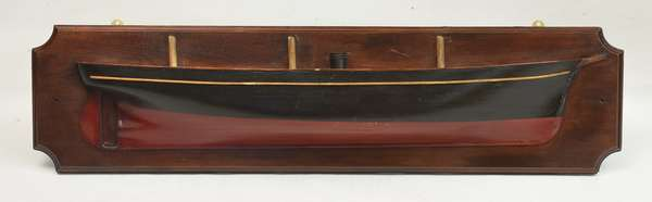 Ship's half hull, New York, red and black liner, 41