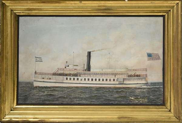 Antonio Jacobsen oil on board, the New York Liner