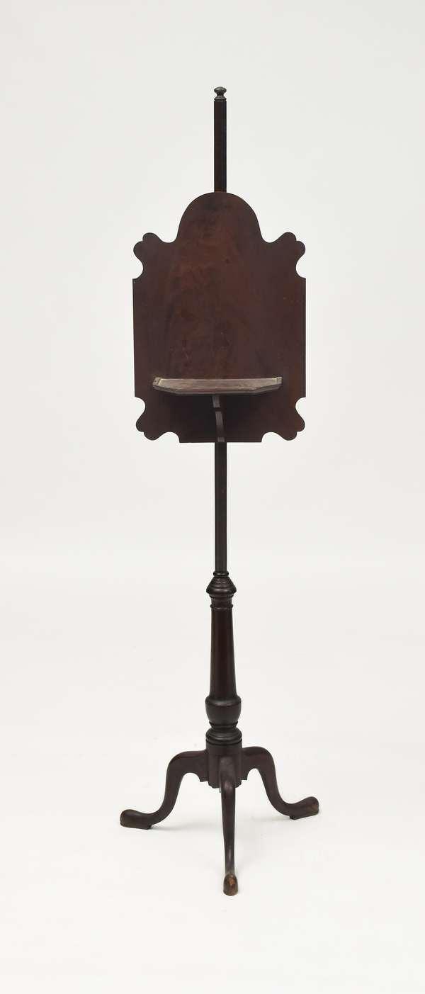 Fine New England Queen Anne mahogany pole screen, ca. 1780, 60.5