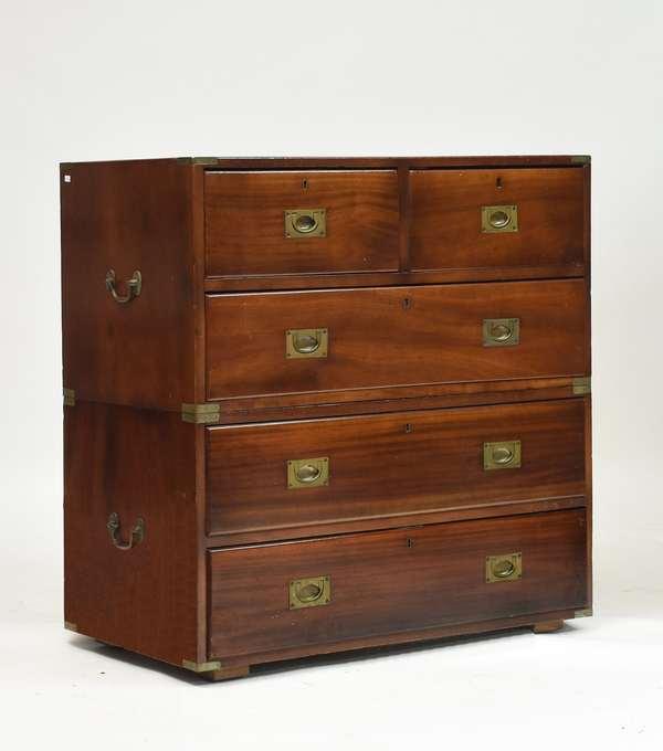 19th C. English mahogany two-part campaign desk, 36
