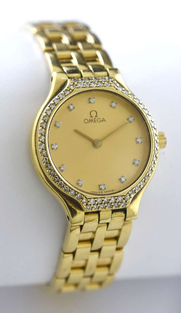 18k ladies Omega Depose watch with diamond bezel and numerals, 23.5 mm, 6