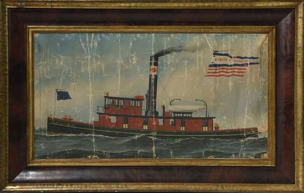 Oil on canvas attributed to Antonio Jacobsen, The New York Fire Boat Abram P. Skidmore, 18
