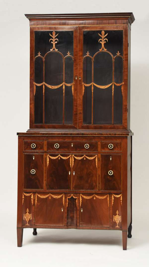 Exceptional NY Federal server with cabinet top, attributed to the workshop of Mills & Deming, in 2 parts mahogany with light colored wood tassel and drape inlays, rare ebony and whalebone drawer pulls, mahogany drawers sides and poplar bottoms, for similar inlays see the Kaufman Collection, 91