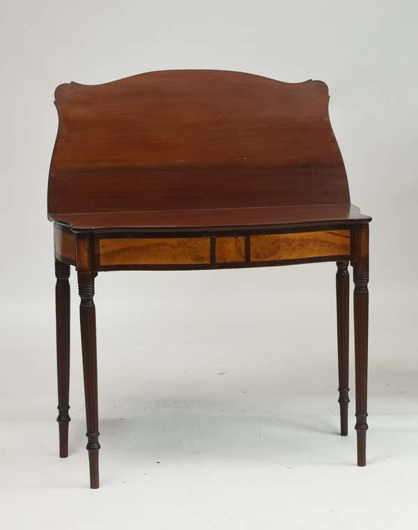 New Hampshire serpentine front card table with inlay and flame birch panels, 34