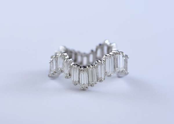 Platinum and diamond baguette eternity band, size 5.5-6, set with approximately 3.85 ct total weight diamonds, 6.4 grams