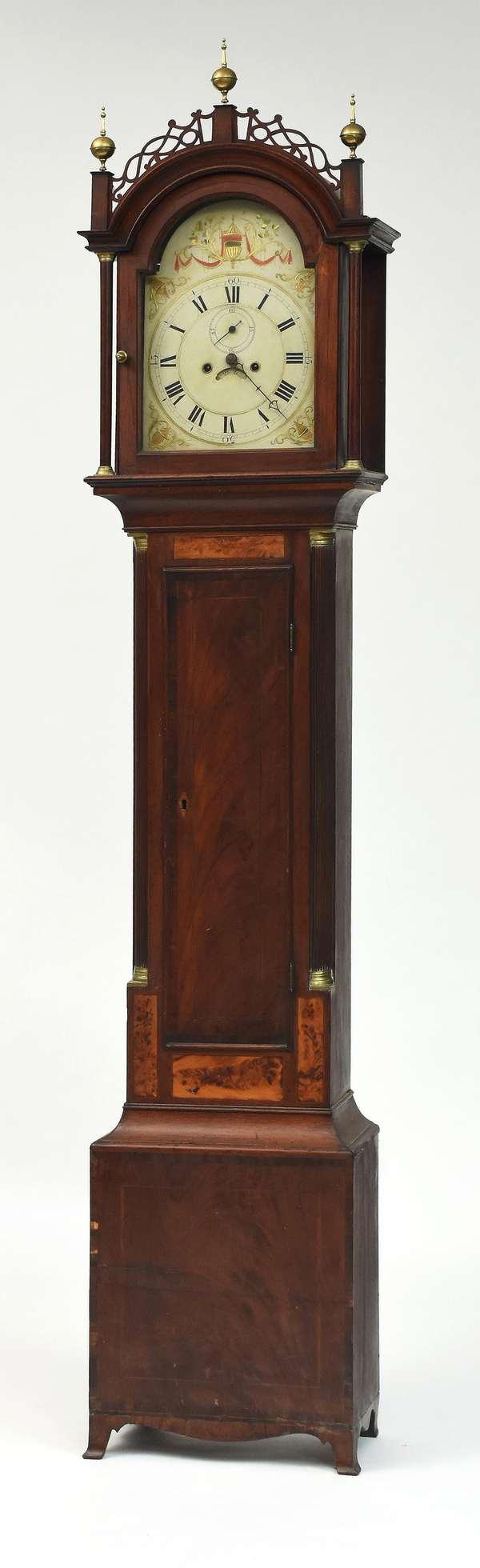 Fine Federal MA inlaid mahogany tall clock, brass works, Roxbury case with feathered birch inlaid panels, ca.1800, 93