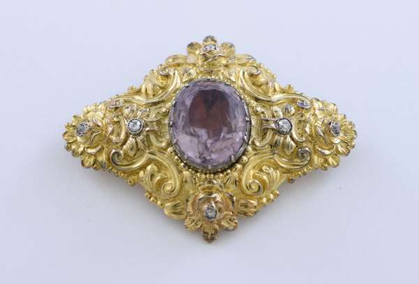 18k yellow gold signed Russian Faberge brooch with hallmarks, set with an approximate 18 carat light purple amethyst (tested) accented by approx. .25 ct total weight old European single cut diamonds, 2.25