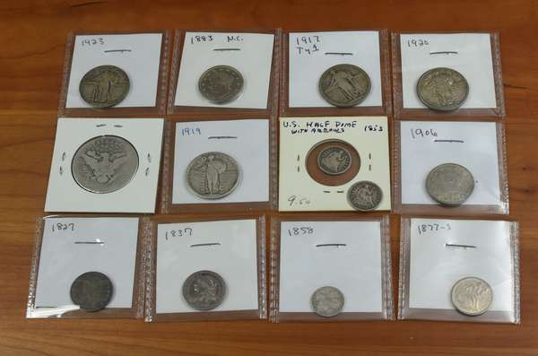 Ref 9: 	13 assorted type coins (532-133)