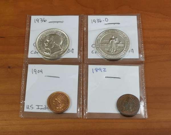 Ref 10: 2 Indian cents + 2 commemorative halves (532-134)