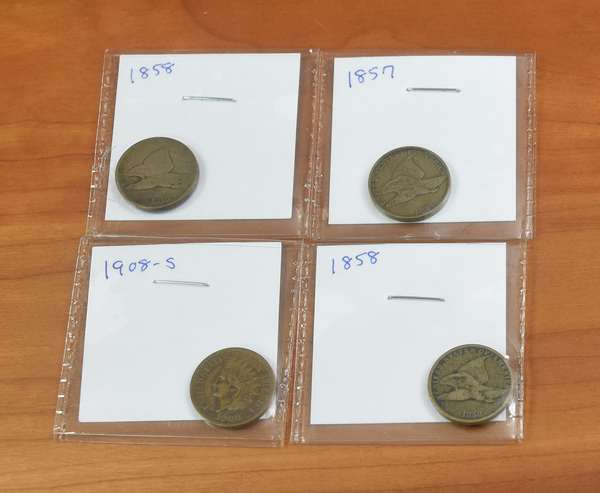 Ref 12: 1857, (2) 1858 + 1908-S Flying Eagle + Indian cents (746-6)