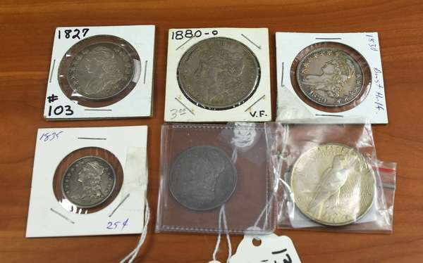 Ref 15: Lot of six antique silver coins, 1827 bust half, 1830 bust half, 1880-O, 1835 bust quarter, 1839 bust half and 1924 silver dollar (160-25)