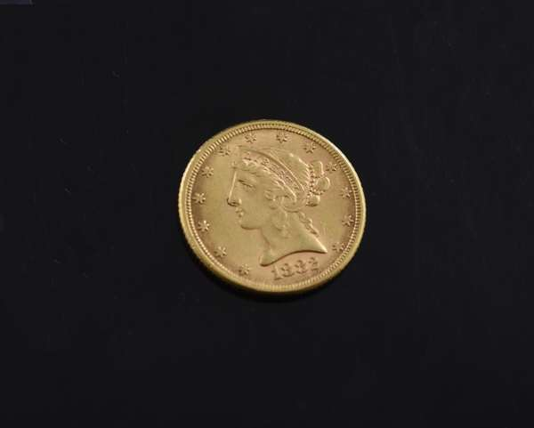 Ref 17: 1885 $5 gold coin (605-207)