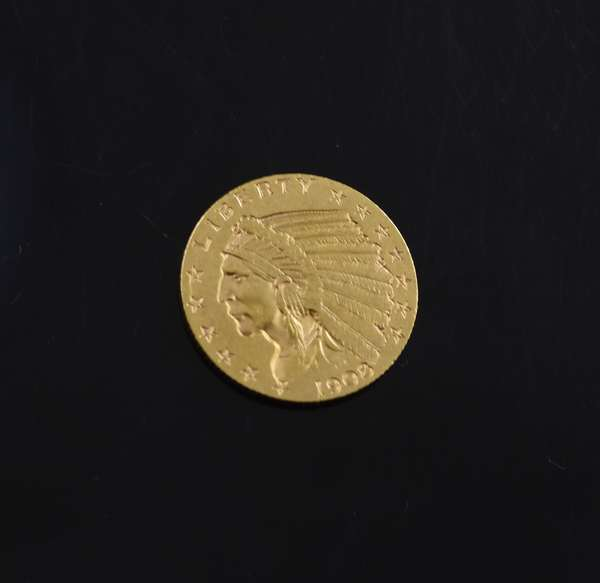 Ref 18: 1908 $2 1/2 gold coin (605-208)