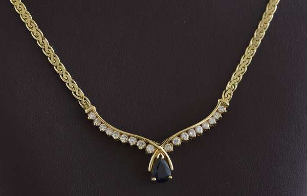 "Ref 23: 14k yellow gold diamond and sapphire necklace, approx. .50 ct sapphire and .60 ctw diamonds, 18""L. (5-94)"
