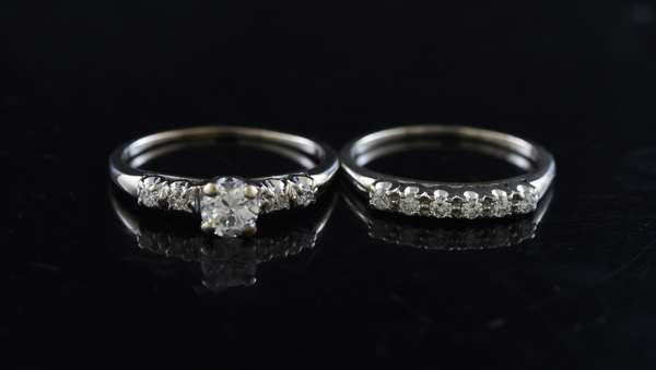 Ref 28: 14k white gold and diamond wedding set, approx. .40 ct ring with approx. .45 ctw band (5-99)