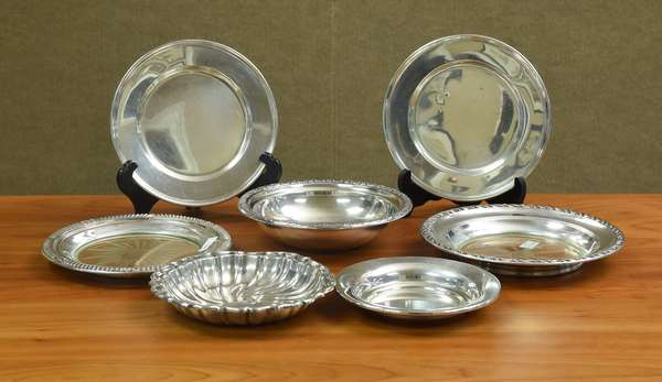 Six sterling small plates & one bowl, approx. 13 T.oz (7 pcs total) (44-175)
