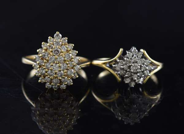Ref 31: (2) 14k gold and diamond cocktail rings, over 1 ctw diamonds (5-102)