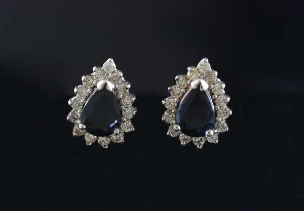 Ref 32: Pair of 14k white gold sapphire and diamond earrings, pear shaped approx. .75 ct sapphires and .60 ctw diamonds (5-103)