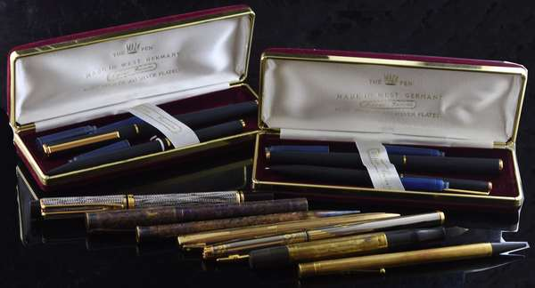 Lot of fountain and other pens, 11 pcs including Watermen and Shaeffer (5-105)