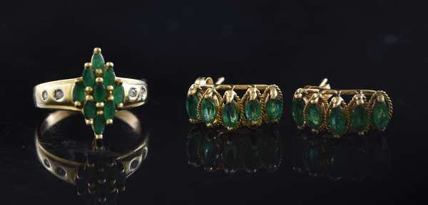 Ref 36: Pair of 14k gold and emerald earrings with a similar 14k gold emerald ring (5-108)