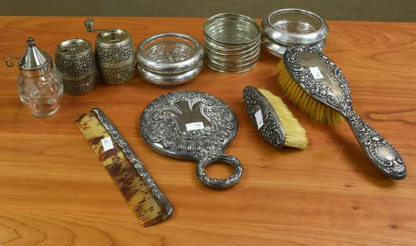 Silver accessories including, partial dresser set, coasters and salt & pepper (44-180)