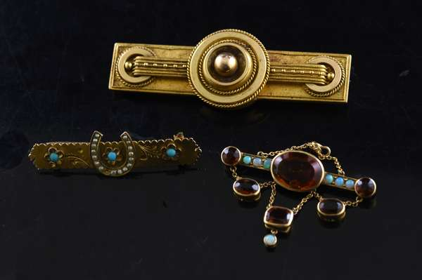Ref 41: Lot of three antique gold pins, turquoise and pearl horseshoe, opal and citrine (96-156)