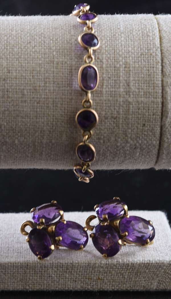 Ref 42: Pair of 14k gold and amethyst earrings with a 14k gold bracelet (96-157)