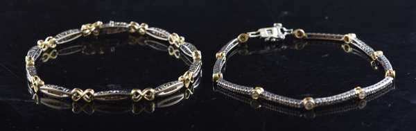 Ref 43: (2) 14k gold and diamond bracelets in mixed white and yellow gold (96-158)