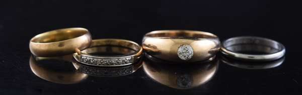 Ref 44: Four rings, 14k yellow gold and .20 ct diamond, 14k gold band, platinum band and other (96-159)
