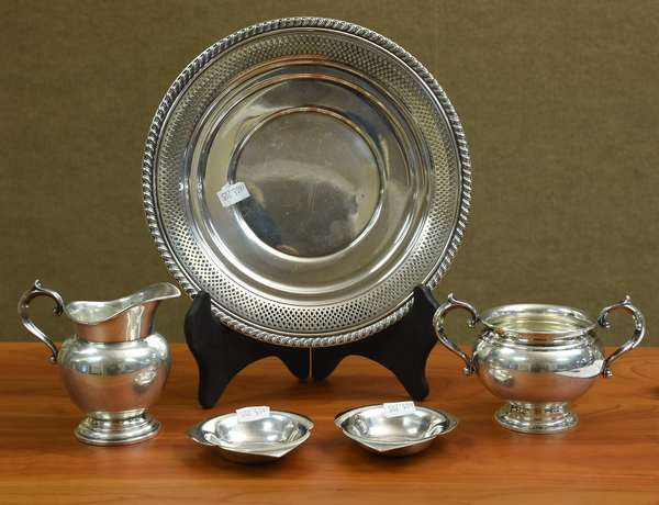 Sterling plate, cream & sugar and two candy dishes, approx. 14.8 T.oz (605-205)