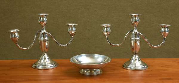 Pair of weighted candelabras and a small bowl (605-206)