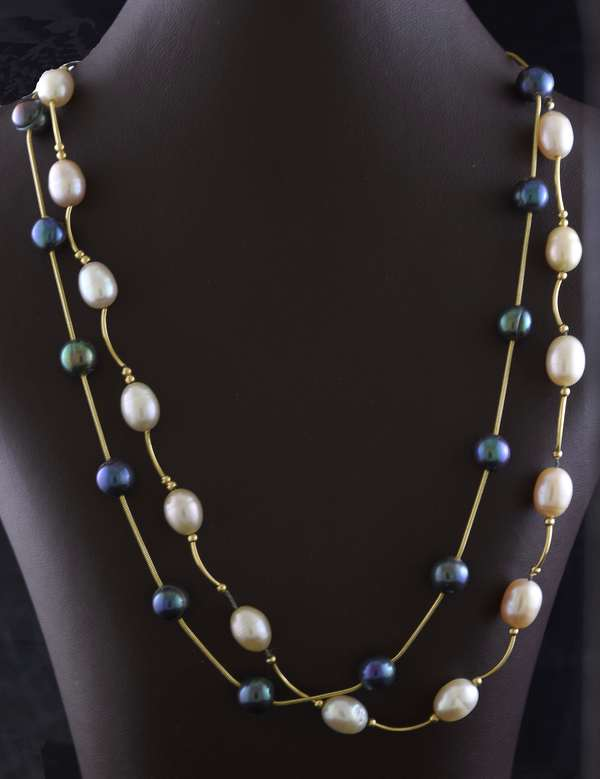 Ref 48: Two interesting 14k and pearl necklaces, grey and white pearls, 16