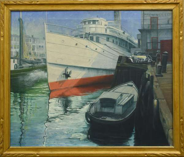 Oil on canvas, Cape Cod Ferry at Dock (759-2)