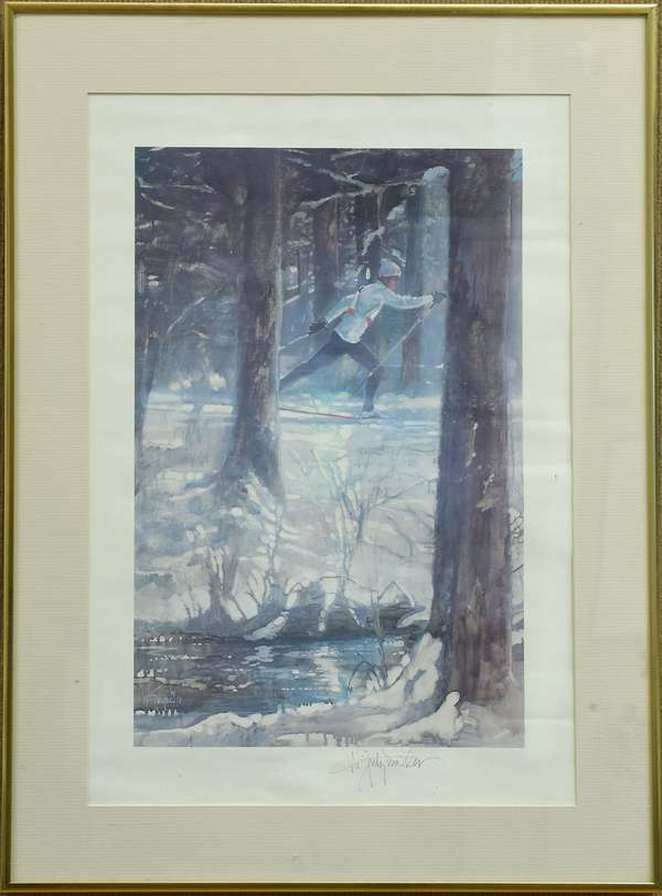 Pencil signed Walter Spitzmiller print, Cross Country Skier (781-4)