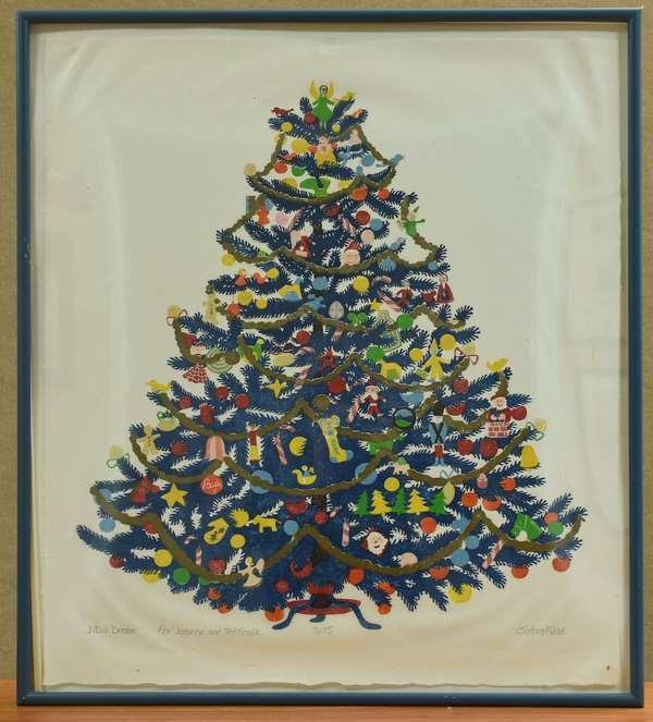 Sabra Field woodblock print, Christmas Tree, pencil signed (789-17)