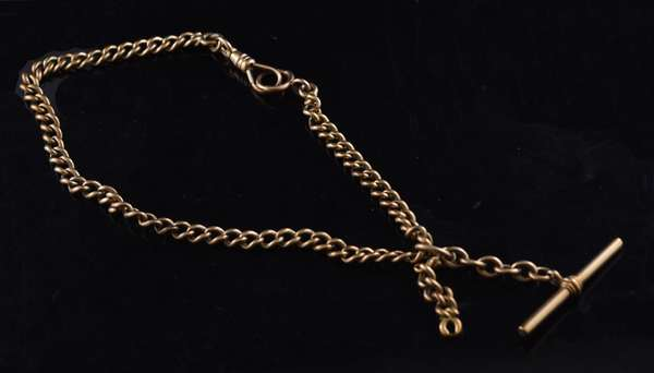 Ref 52: Antique 14k yellow gold watch chain, 48 grams, 14
