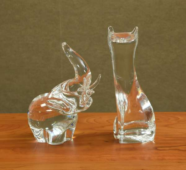 Two Steuben glass figures, a elephant 7.5