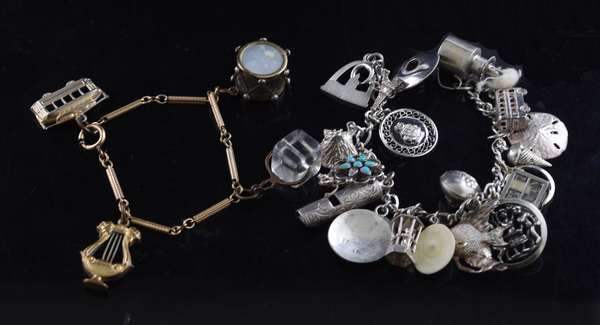 Ref 53: Silver and other charm bracelet, 2 pcs (105-148)