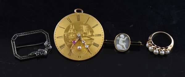 Ref 55: Clock dial pin with a 14k gold ring with two antique 14k gold pins (53,54)(789-59)