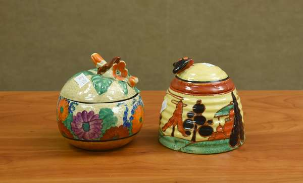 Two Clarice Cliff honey pots(106-38)