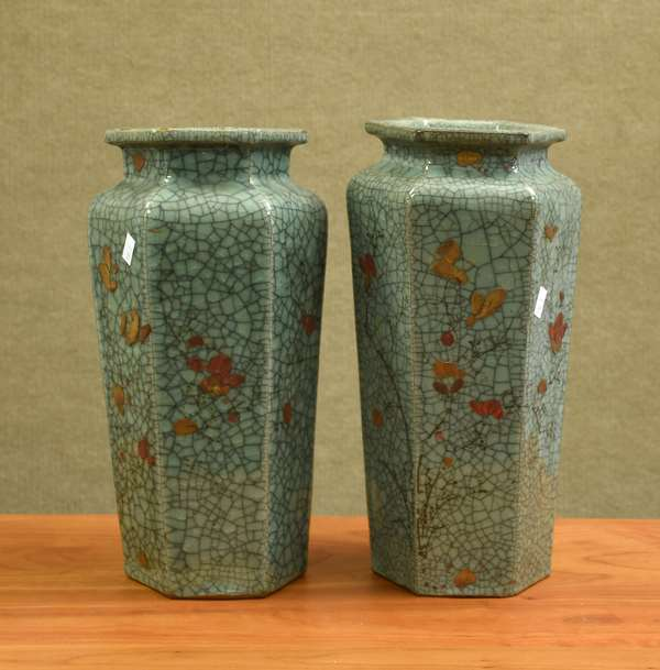 Pair of Chinese crackle glazed Celedon vases (106-3)