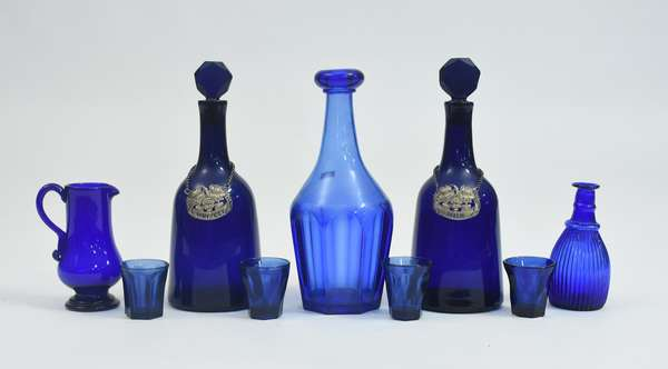 Lot of early cobalt glassware, including decanters, pitchers and glasses, 9 pieces
